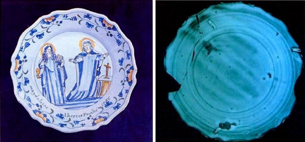 La radiographie aux rayons x de cette assiette du XVIIIème siècle montre de façon indiscutable l'ampleur des lacunes et des restaurations invisibles à l'œil.