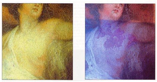 Vision sous fluorescence U.V. d'un tableau, huile sur toile, du XVIIIème siècle, restauré.