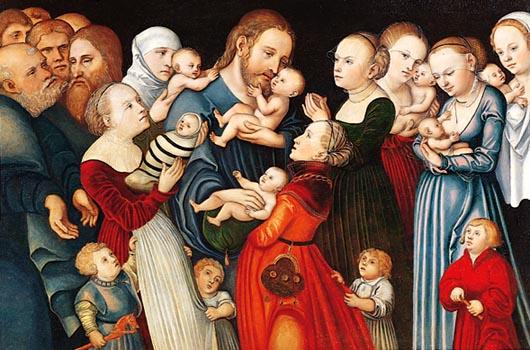 Faites Venir à moi les enfants - Lucas Cranach le Jeune (1515-1586)