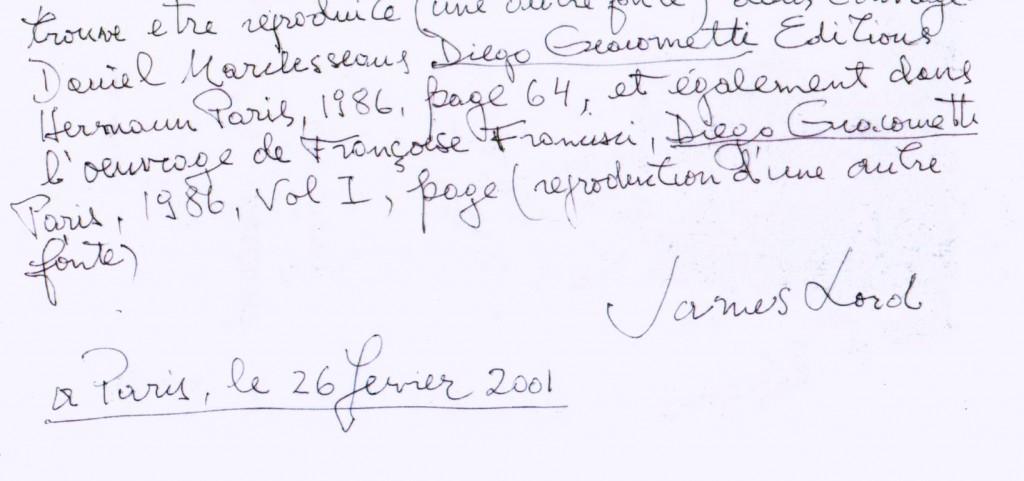 Certificat authentique de James Lord pour une oeuvre de Diego Giacometti