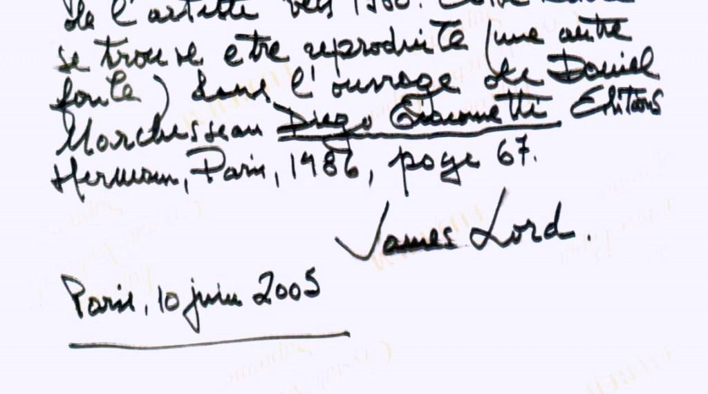 Faux Certificat d'authenticité signé James Lord pour une oeuvre de Diego Giacometti