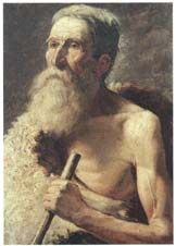 Saint Jérôme, oil on canvas. Work from the 19th century based on a 17th-century painting.