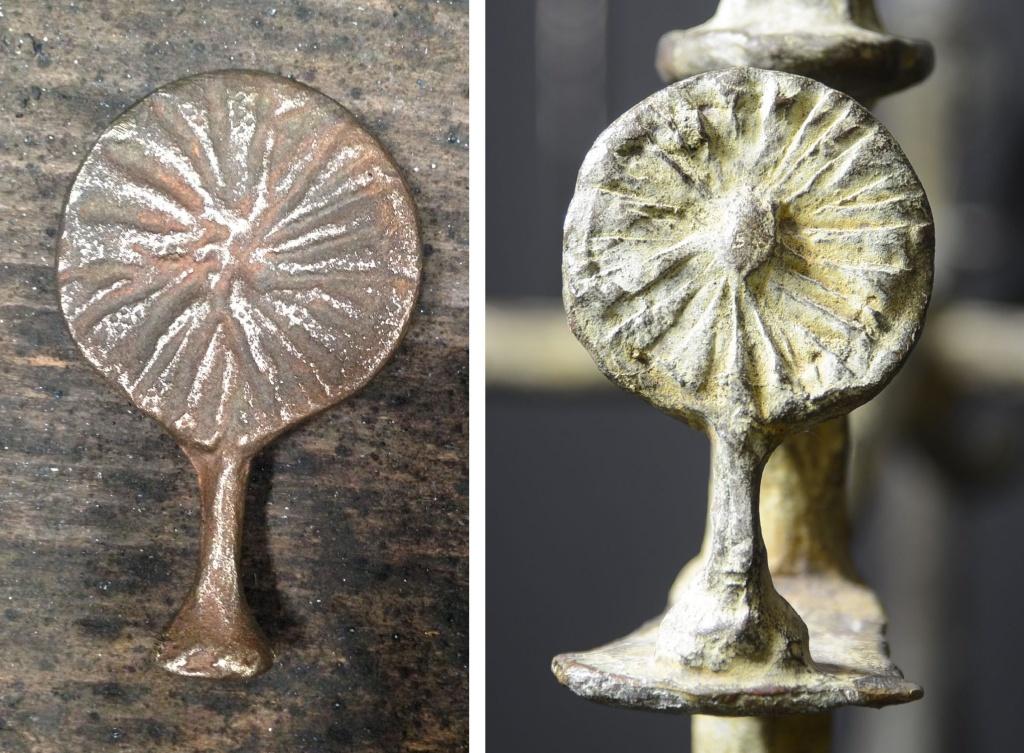 Élément de mobilier, arbuste authentique (à gauche) Ferronnier Monse; et arbuste contrefait (à droite).