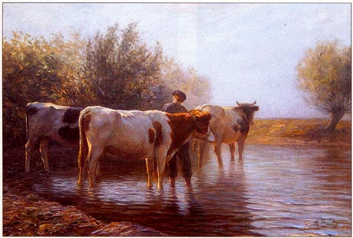 The cows' pond. Oil painting on canvas from the second half of the 19th century, signed Anton Braitz. Our eye allows us to appreciate only the surface of this painting, the effects of the sunlight having clearly been very well painted.