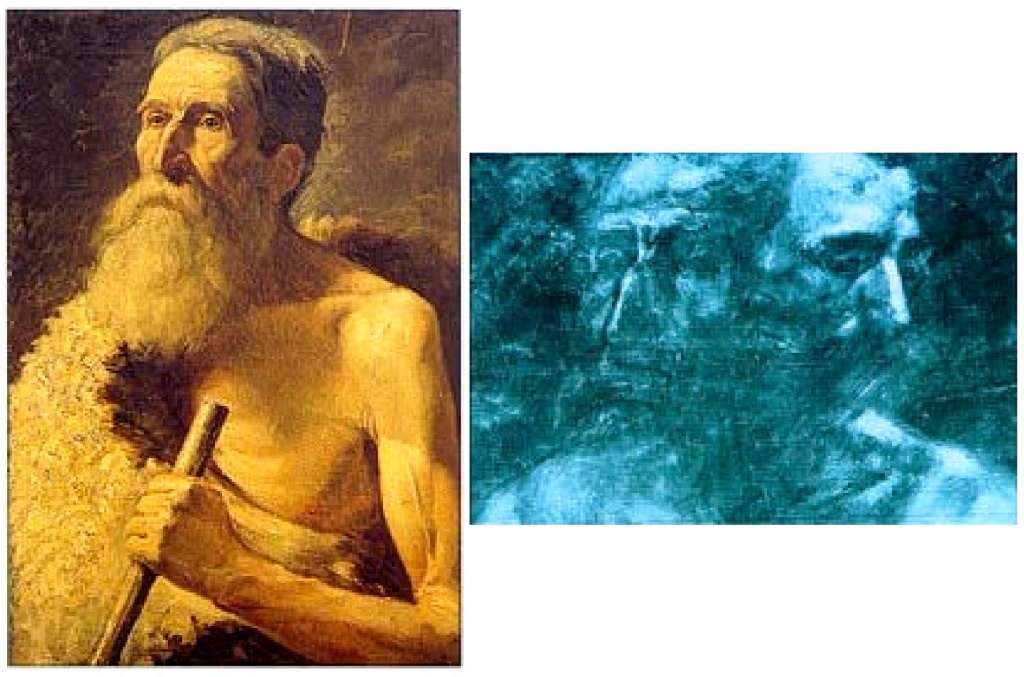 An x-ray radiography of a painting can reveal a signature (full of dense pigments such as lead) or a hidden work, as is the case here.