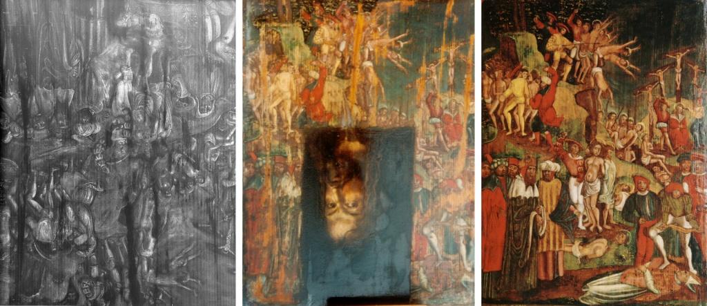Examens sous rayons X (radiographies). Dégagement du faux autoportrait en cour. Tableau original restauré.