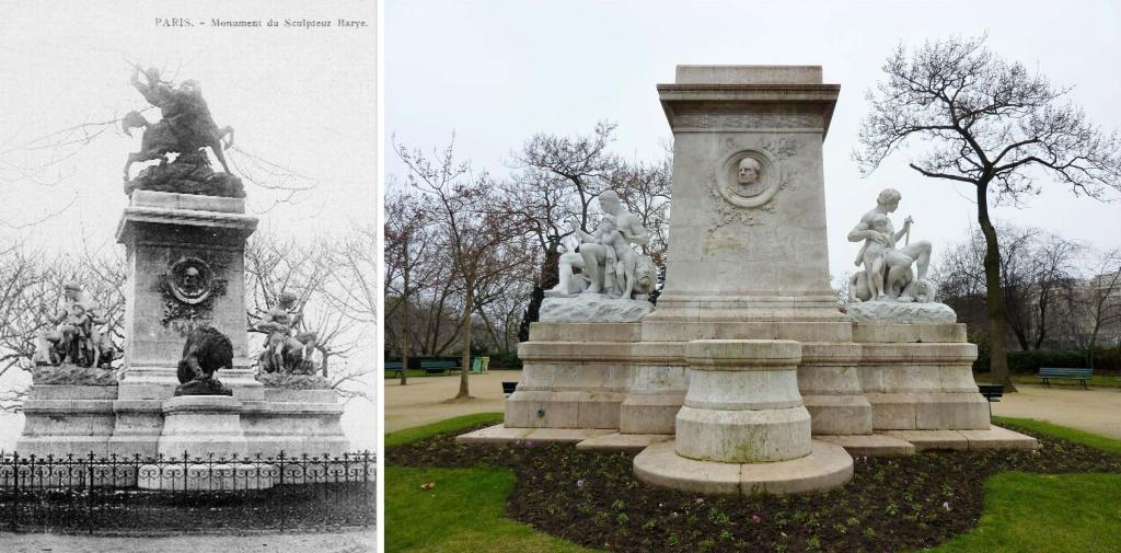 Monument dédié à Antoine Barye, square Henri IV, Ile Saint-Louis à Paris. Les deux bronzes ont été fondus en1942, et reconstitués en copie en 2011 et 2014.