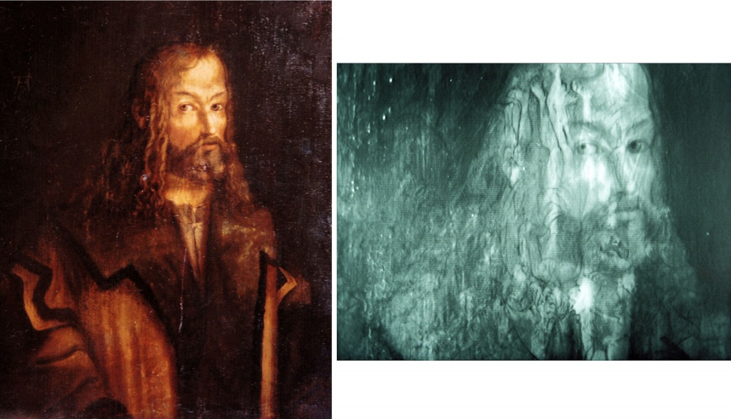 Autoportrait d'A. Dürer sur panneau de chêne. L'examen dans le spectre des infrarouges fait apparaître un autre tableau.